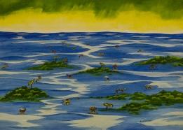 Con el agua hasta el cuello y contra la corriente Emilce Delvas Óleo s/tela 70x50 Precio: $ 3000 ARS