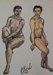 Estudio de dos desnudos Luis Felipe Avila 2011 Técnica mixta óleo y carbonilla 70x100 Precio: $ 4000 ARS